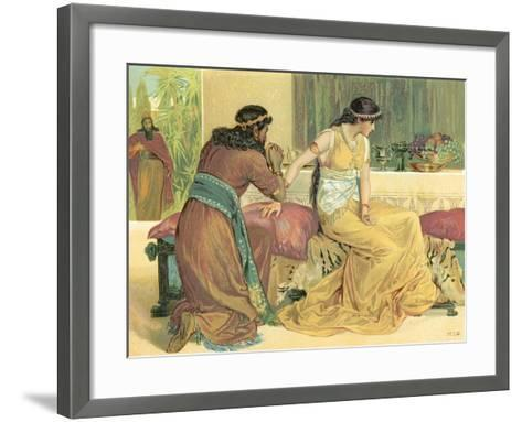 Queen Esther and Haman-English School-Framed Art Print