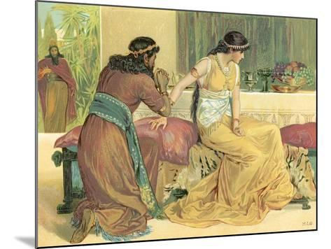 Queen Esther and Haman-English School-Mounted Giclee Print