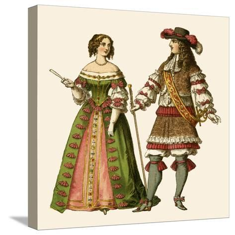 King Louis XIV of France and Maria Theresa Queen of France-Albert Kretschmer-Stretched Canvas Print