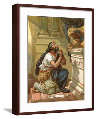King Hezekiah Spreads His Case before the Lord-English School-Framed Art Print