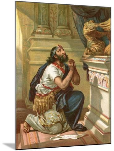King Hezekiah Spreads His Case before the Lord-English School-Mounted Giclee Print