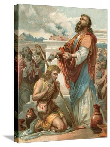 Samuel Anointing David King of Israel-English School-Stretched Canvas Print