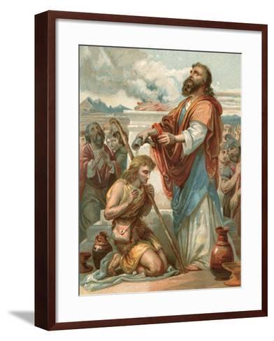 Samuel Anointing David King of Israel-English School-Framed Art Print