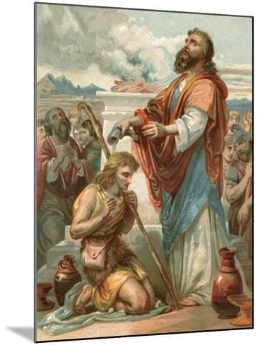 Samuel Anointing David King of Israel-English School-Mounted Giclee Print