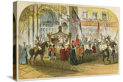 Queen Victoria's First Visit to the City (9 November 1837)-English School-Stretched Canvas Print