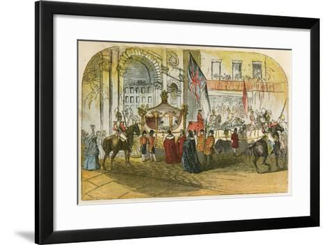 Queen Victoria's First Visit to the City (9 November 1837)-English School-Framed Art Print