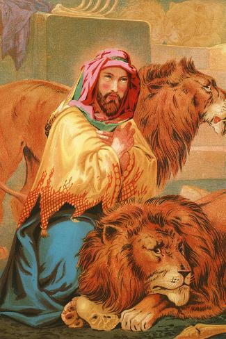 Daniel in the Lion's Den-English School-Stretched Canvas Print