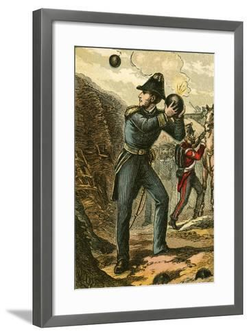 Captain Peel with the Burning Fuse-English School-Framed Art Print