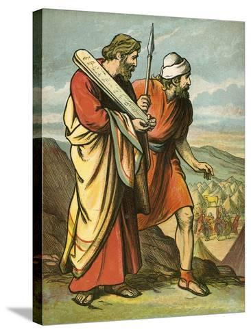 Moses and Joshua Seeing the Golden Calf-English School-Stretched Canvas Print
