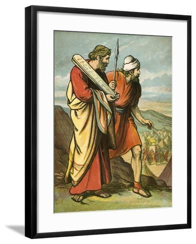 Moses and Joshua Seeing the Golden Calf-English School-Framed Art Print