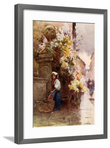 At the Foot of the Spanish Steps, Piazza Di Spagna, on a Wet Day-Alberto Pisa-Framed Art Print