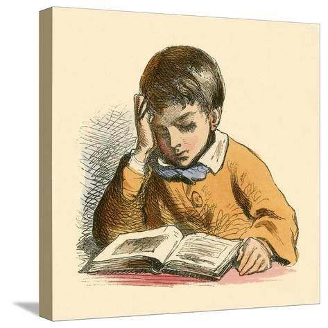 Boy Reading-English School-Stretched Canvas Print