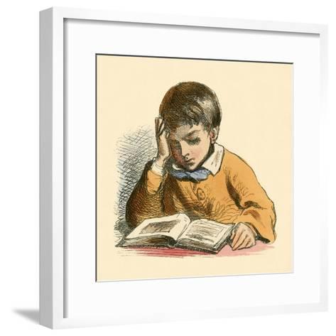 Boy Reading-English School-Framed Art Print