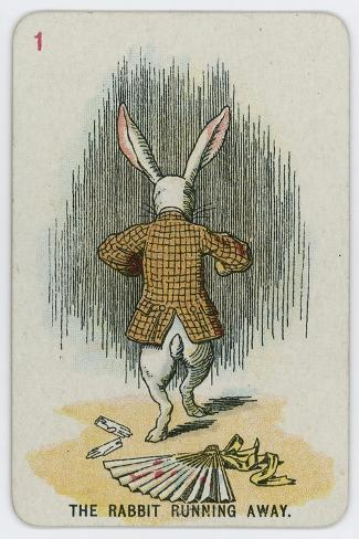 The Rabbit Running Away-John Tenniel-Stretched Canvas Print