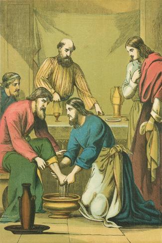 Christ Washing His Disciples' Feet-English School-Stretched Canvas Print