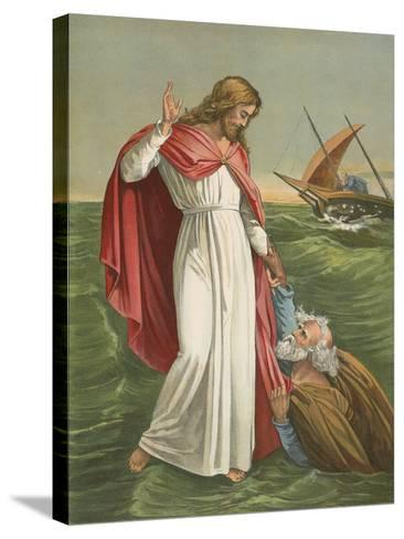 Peter Walking on the Sea-English School-Stretched Canvas Print