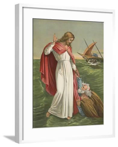 Peter Walking on the Sea-English School-Framed Art Print