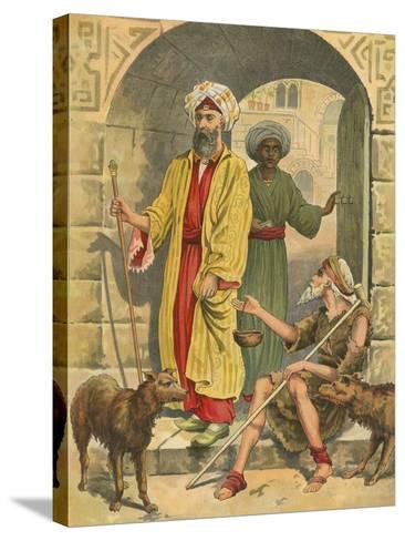 The Rich Man and Lazarus-English School-Stretched Canvas Print