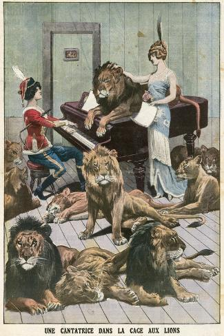 Opera Singer in a Lion Cage-French School-Stretched Canvas Print