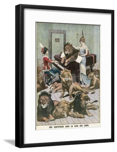 Opera Singer in a Lion Cage-French School-Framed Art Print