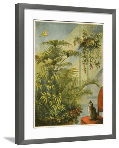 Pussy and Dicky, Cat and Canary-English School-Framed Art Print