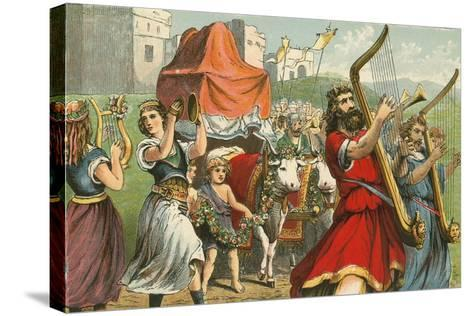 King David Fetching the Ark of the Covenant-English School-Stretched Canvas Print