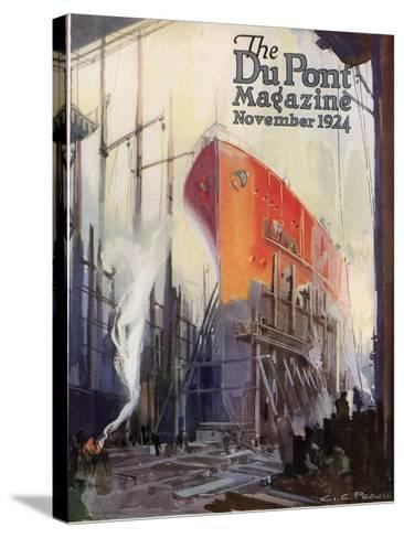 Ship Construction, Front Cover of the 'Dupont Magazine', November 1924-G. C. Pearce-Stretched Canvas Print