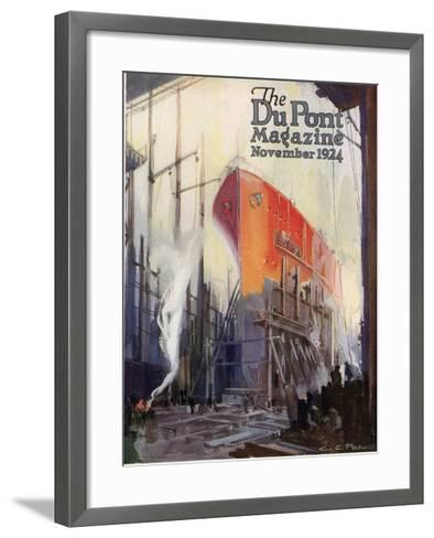 Ship Construction, Front Cover of the 'Dupont Magazine', November 1924-G. C. Pearce-Framed Art Print