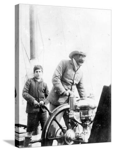 Rudyard Kipling and His Son John on the Yacht 'Bantam', c.1910-English Photographer-Stretched Canvas Print