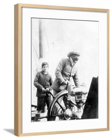 Rudyard Kipling and His Son John on the Yacht 'Bantam', c.1910-English Photographer-Framed Art Print