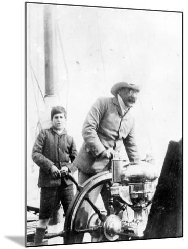 Rudyard Kipling and His Son John on the Yacht 'Bantam', c.1910-English Photographer-Mounted Photographic Print