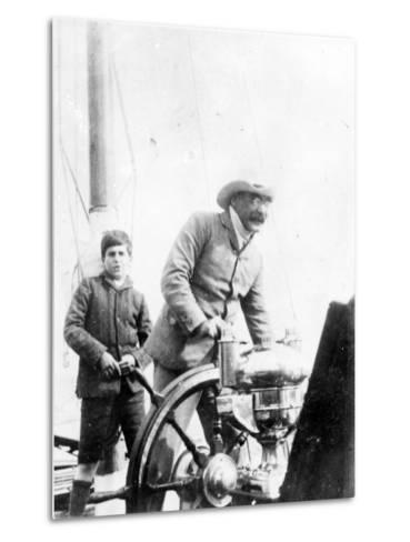 Rudyard Kipling and His Son John on the Yacht 'Bantam', c.1910-English Photographer-Metal Print