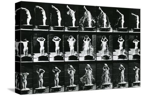 Woman Pouring a Basin of Water over Her Head, Illustration from 'The Human -Eadweard Muybridge-Stretched Canvas Print