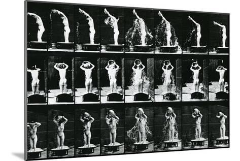 Woman Pouring a Basin of Water over Her Head, Illustration from 'The Human -Eadweard Muybridge-Mounted Photographic Print