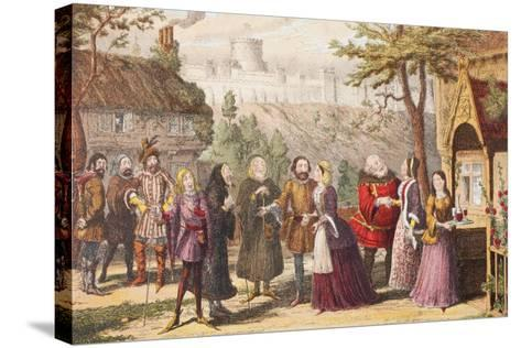 Sir John Falstaff on a Visit to His Friend Page at Windsor, Illustration from the Merry Wives of…-George Cruikshank-Stretched Canvas Print