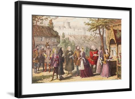 Sir John Falstaff on a Visit to His Friend Page at Windsor, Illustration from the Merry Wives of…-George Cruikshank-Framed Art Print
