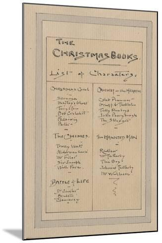 List of Characters, c.1920s-Joseph Clayton Clarke-Mounted Giclee Print
