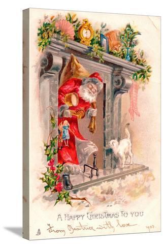 Christmas Postcard, 1903-English School-Stretched Canvas Print