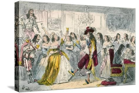 Evening Party, Time of Charles II-John Leech-Stretched Canvas Print