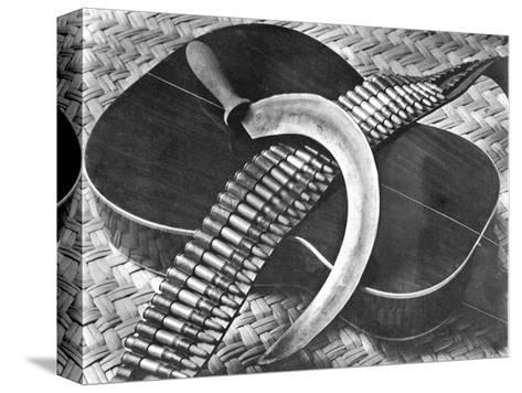 Mexican Revolution: Guitar, Sickle and Ammunition Belt, Mexico City, 1927-Tina Modotti-Stretched Canvas Print