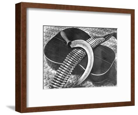 Mexican Revolution: Guitar, Sickle and Ammunition Belt, Mexico City, 1927-Tina Modotti-Framed Art Print