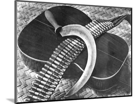 Mexican Revolution: Guitar, Sickle and Ammunition Belt, Mexico City, 1927-Tina Modotti-Mounted Photographic Print