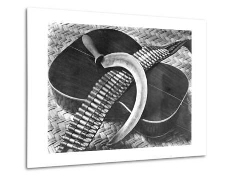 Mexican Revolution: Guitar, Sickle and Ammunition Belt, Mexico City, 1927-Tina Modotti-Metal Print