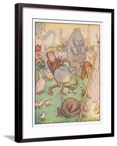So the Chimpanzee Put the Kettle on for Tea, Illustration from 'Johnny Crow's Party', c.1930-Leonard Leslie Brooke-Framed Art Print