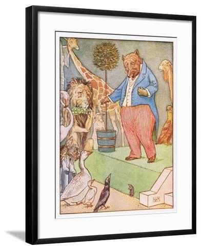And the Bear Sang a Sentimental Air, Illustration from 'Johnny Crow's Party', c.1930-Leonard Leslie Brooke-Framed Art Print