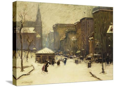Park Street Church in Snow, 1913-Arthur Clifton Goodwin-Stretched Canvas Print
