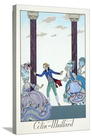 Blind Man's Bluff, from 'Falbalas and Fanfreluches, Almanach des Modes Présentes, Passées et…-Georges Barbier-Stretched Canvas Print