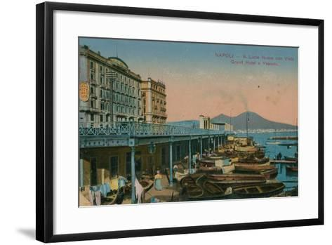 Naples - View of the Grand Hotel Santa Lucia and Mount Vesuvius. Postcard Sent in 1913-Italian Photographer-Framed Art Print