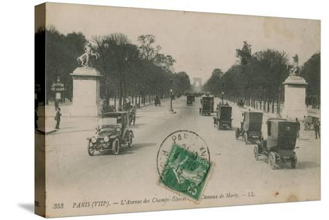 Paris - Avenue des Champs-Elysees. Postcard Sent in 1913-French Photographer-Stretched Canvas Print