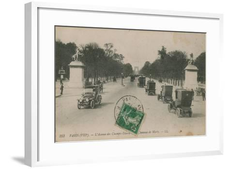 Paris - Avenue des Champs-Elysees. Postcard Sent in 1913-French Photographer-Framed Art Print